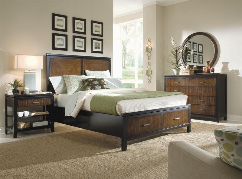 Storage Platform Panel Bed 6 Piece Bedroom Set in Black and Brown ...