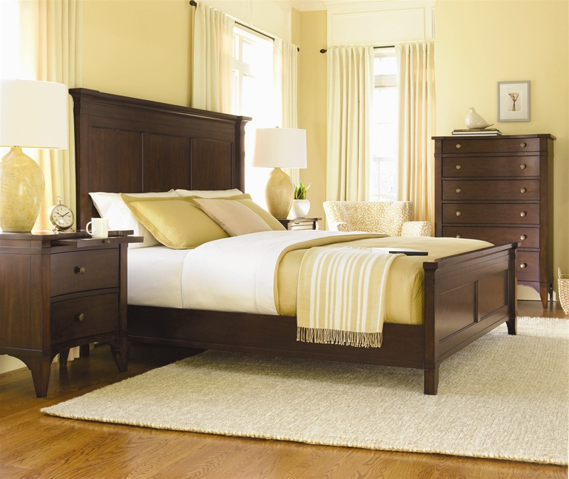 Place Panel Bed 6 Piece Bedroom Set in Rich, Warm Cherry Finish by ...
