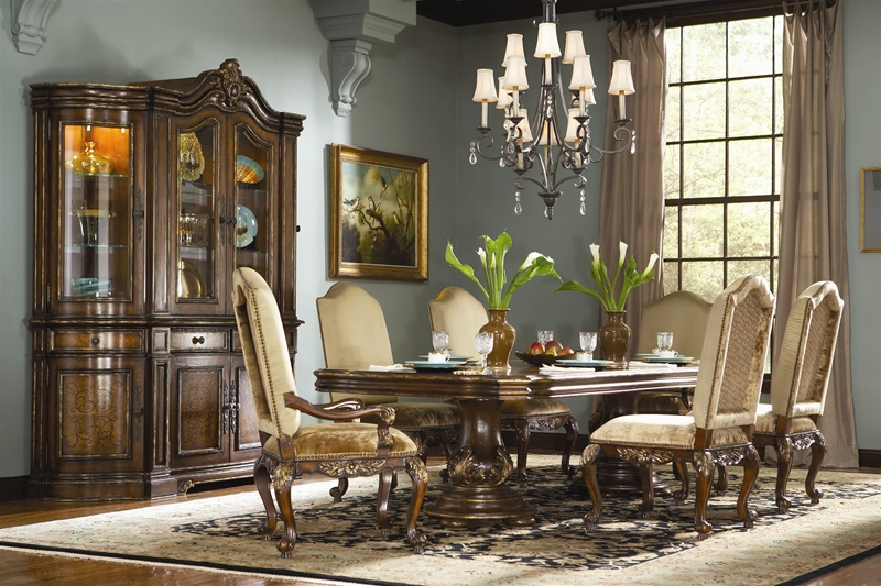 Beladora 7 Piece Double Pedestal Table Dining Set in Caramel Finish with  Gold Tipping Details by Hooker Furniture HF-698-75-206