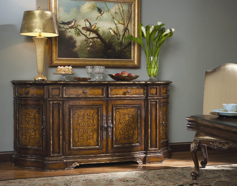 Beladora 84 Inch Credenza In Caramel Finish With Gold Tipping Details By  Hooker Furniture ...
