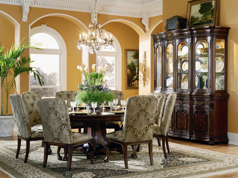 Grandeur 5 Piece 72 Round Dining Table Set In Cherry Ash Burl Finish By Furniture Hf 733 75 201