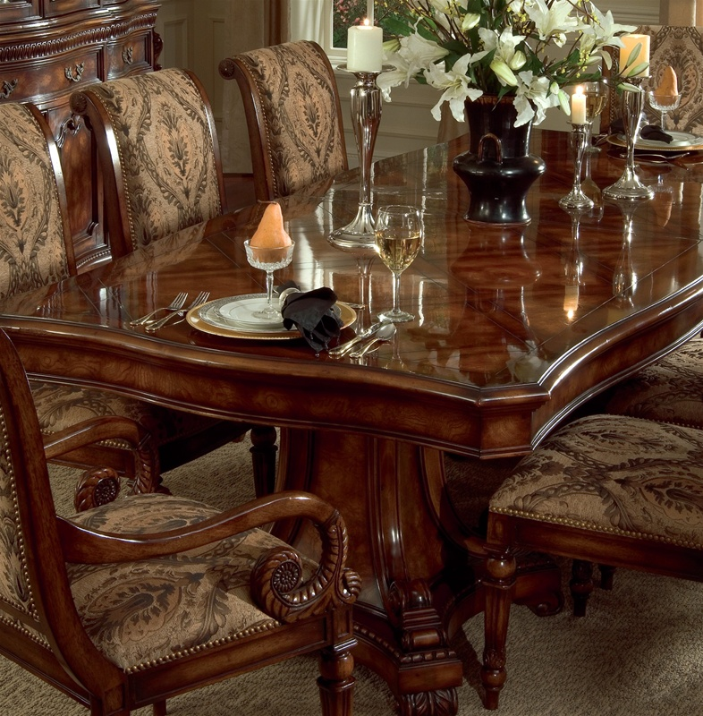 Grandeur 7 Piece Double Pedestal Dining Table Set in Cherry Ash Burl Finish by Hooker Furniture HF-733-75-206 & Grandeur 7 Piece Double Pedestal Dining Table Set in Cherry Ash Burl ...