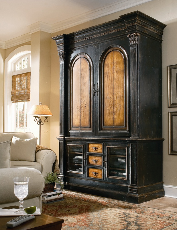 North Hampton 67 Inch Entertainment Console With Hutch In Textured Black  Finish With Hand Painted
