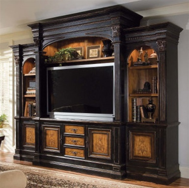 North Hampton 74 Inch Entertainment Console Home Theater Wall In Textured Black Finish With Hand Painted Decoration By Hooker Furniture Hf 779 70 765