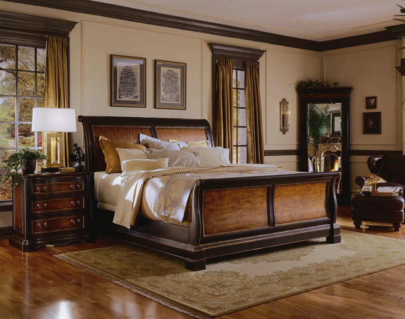 Preston Ridge Sleigh Bed 6 Piece Bedroom Set in Two-Tone with Distressed  Black Finish by Hooker Furniture HF-864-90-220