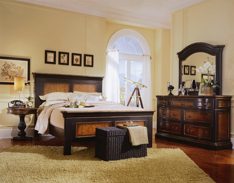 Ridge Panel Bed 6 Piece Bedroom Set in Two-Tone with Distressed ...