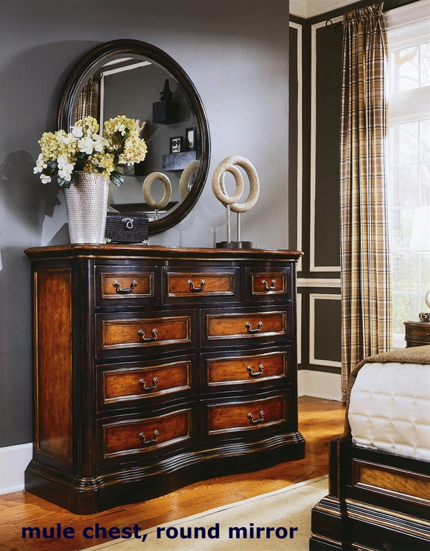 Preston Ridge Panel Bed 6 Piece Bedroom Set in Two-Tone with Distressed  Black Finish by Hooker Furniture HF-864-90-240
