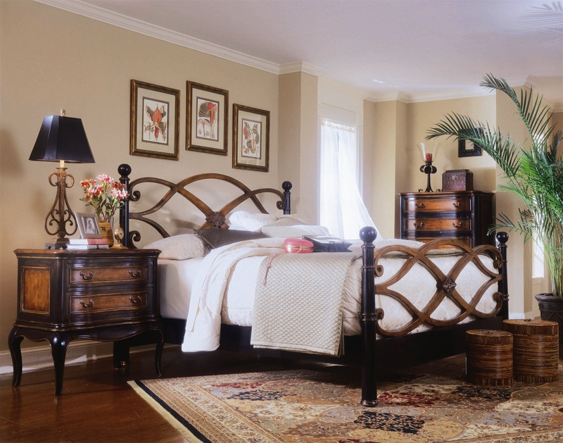 Preston Ridge Low Post Bed 6 Piece Bedroom Set in Two-Tone with ...