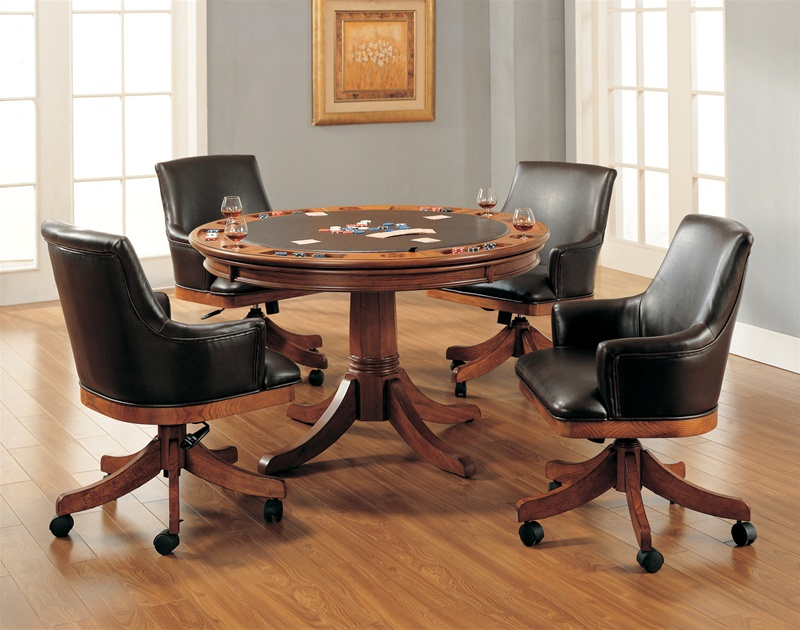 Park View Barrel Back 5 Piece Game Table Set in Medium Brown Oak Finish by Hillsdale ... & Park View Barrel Back 5 Piece Game Table Set in Medium Brown Oak ...