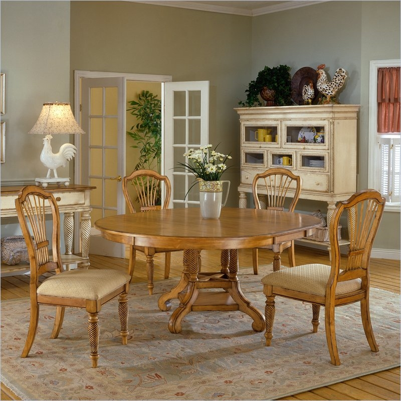 Wilshire 5 Piece Round/Oval Dining Set in Antique Pine Finish by Hillsdale  Furniture - 4507-816-5 - Wilshire 5 Piece Round/Oval Dining Set In Antique Pine Finish By