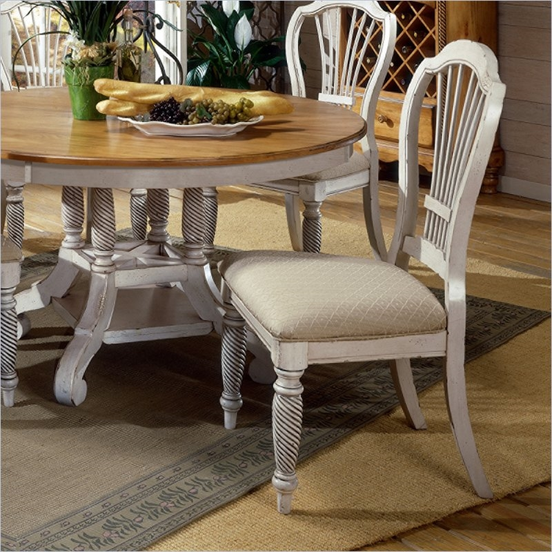 Wilshire 5 Piece Round/Oval Dining Set in Antique White and Pine Two Tone  Finish by Hillsdale Furniture - 4508-816-5 - Wilshire 5 Piece Round/Oval Dining Set In Antique White And Pine