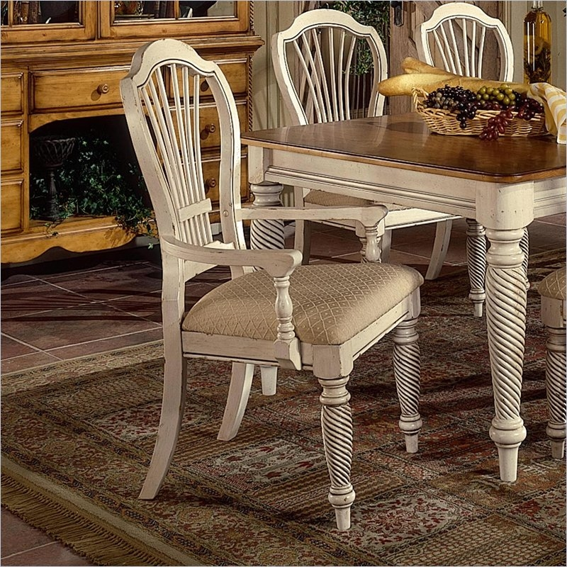 Wilshire 7 Piece Rectangle Dining Set in Antique White and Pine ...
