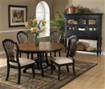 Wilshire 5 Piece Round/Oval Dining Set in Rubbed Black and Antique Pine Two Tone Finish by Hillsdale Furniture - 4509-816-5