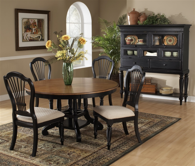 Wilshire 5 Piece Round Oval Dining Set In Rubbed Black And Antique Pine Two Tone Finish By Hilale Furniture 4509 816