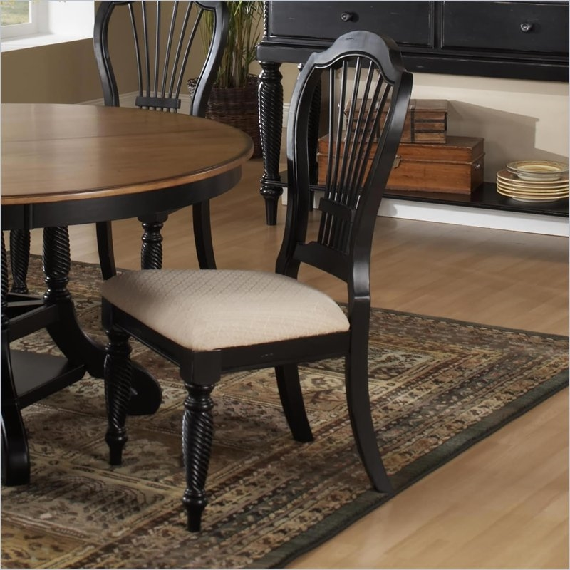 Wilshire 5 Piece Round/Oval Dining Set In Rubbed Black And Antique Pine Two  Tone Finish By Hillsdale Furniture   4509 816 5