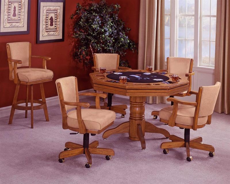 Attrayant Classic Oak 5 Piece Game Table Set In Medium Oak Finish By Hillsdale  Furniture  62540 5