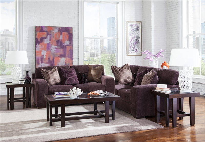 Sofa Set In Plum Chenille By Jackson