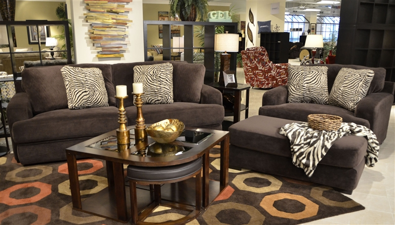 Palisades 2 Piece Sofa Set In Chocolate Color Fabric By Jackson Furniture    4186 SET CH