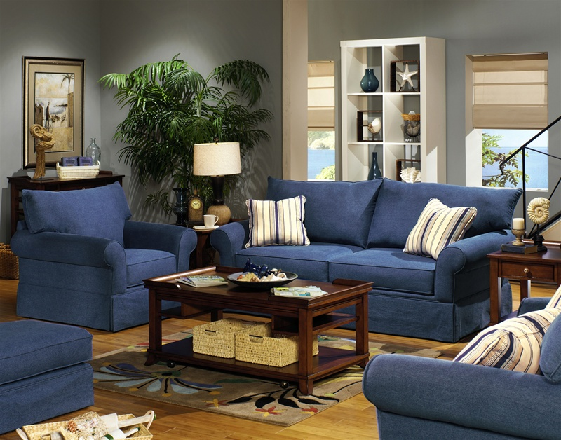 Sleeper Sofa Set In Indigo Denim