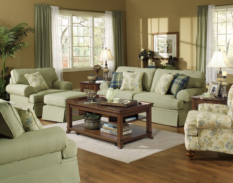 Westport 2 Piece Stationary Sofa Set In Olive Gingham Check Fabric By  Jackson Furniture   4334 S