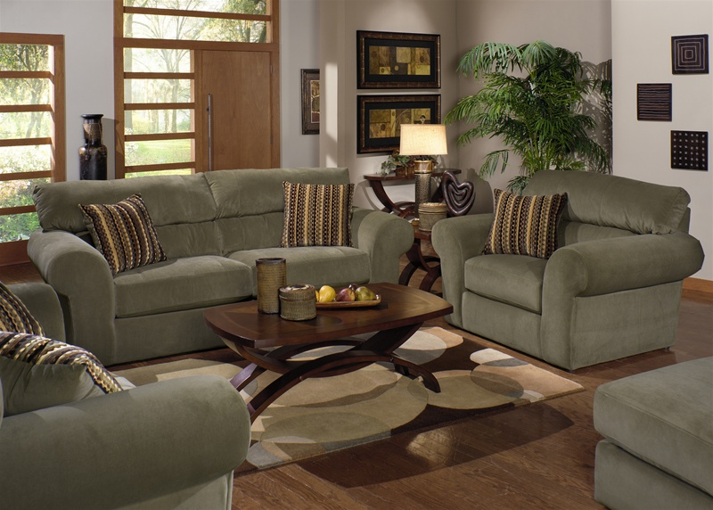 Mesa 2 Piece Sofa Loveseat Set in  Sage  Fabric by Jackson Furniture - 4366-S-S & Mesa 2 Piece Sofa Loveseat Set in