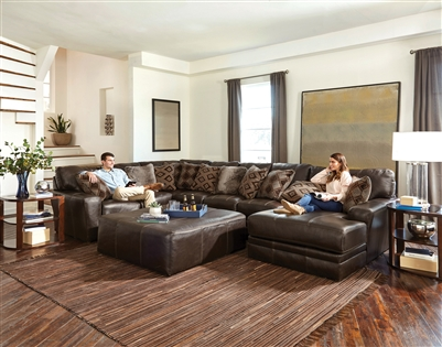 Denali 3 Piece Sectional in Chocolate Leather by Jackson Furniture - 4378-3C-CH