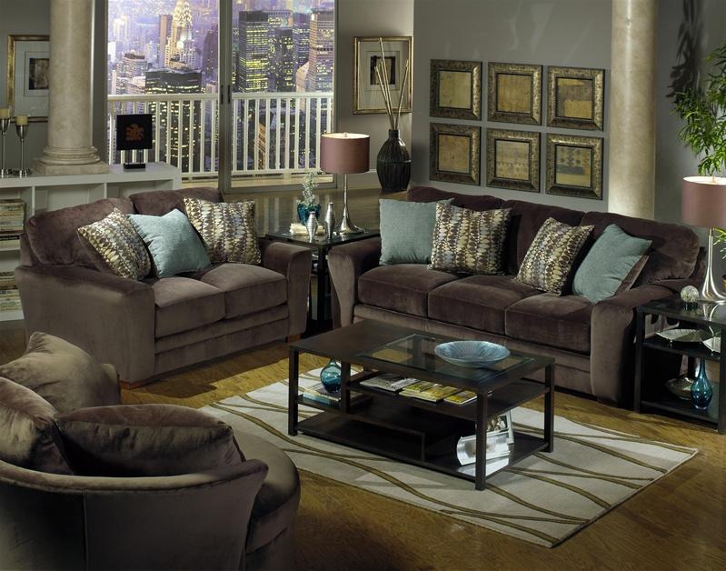 chocolate living room set.  Whitney Sofa in Chocolate Fabric by Jackson 4397 03