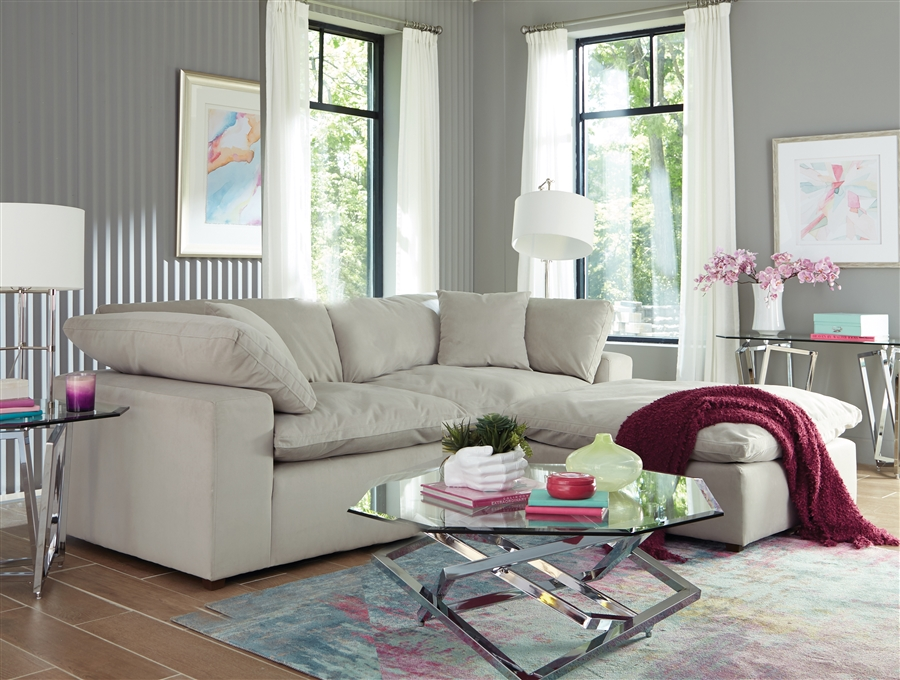 Posh 2 Piece Sectional Sofa In Dove