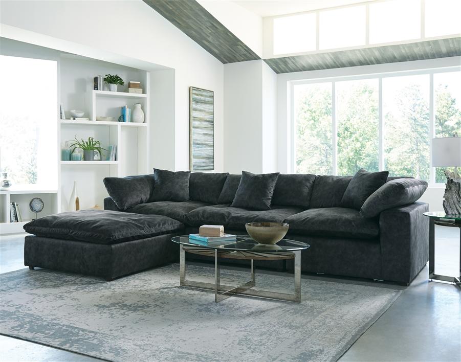 Plush 3 Piece Sectional Sofa In Smoke