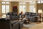 Grant 2 Piece Set in Steel Leather by Jackson Furniture - 4453-S-ST