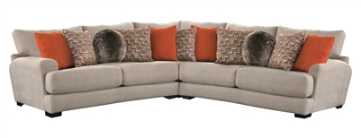 Ava 3 Piece Sectional with USB Port in Cashew Fabric by Jackson Furniture - 4498-USBS-C