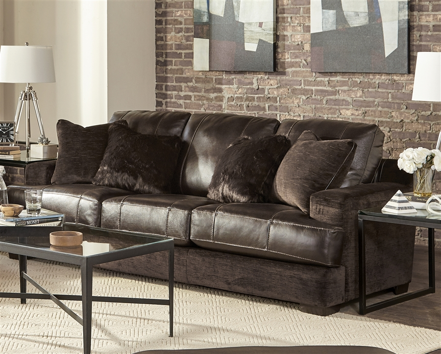 Palermo Sofa in Chocolate Leather Fabric Combination by Jackson Furniture -  4503-03-CH