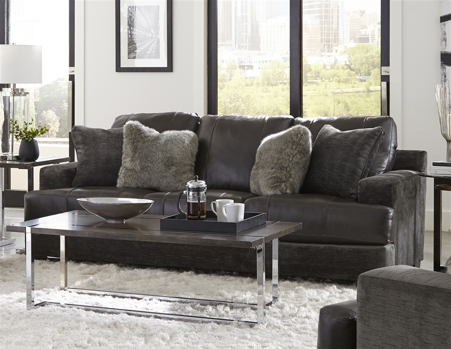 Palermo Sofa in Steel Leather Fabric Combination by Jackson Furniture -  4503-03-S