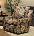 "Sutton Accent Swivel Chair in ""Treasure"" Spice Floral Fabric by Jackson - 722-21-T"