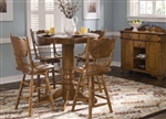 Nostalgia Round Pub Table 3 Piece Dining Set with 24 Inch Press Back Barstools in Medium Oak Finish by Liberty Furniture - 10-B51724