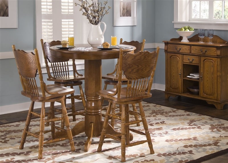 Nostalgia Round Pub Table 3 Piece Dining Set With 24 Inch Press Back  Barstools In Medium ...