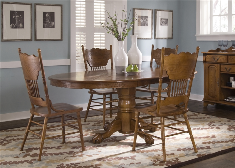 Nostalgia Oval Sunburst Pedestal Table 5 Piece Dining Set In Medium Oak  Finish By Liberty Furniture ...
