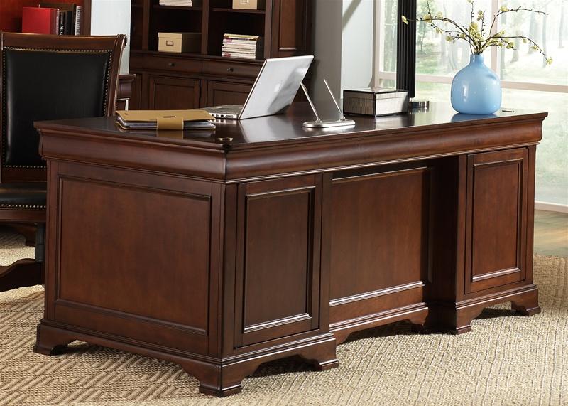 Warm Cherry Executive Desk Home Office Collection: Mt. Vernon Executive Home Office Desk In Deep Cherry