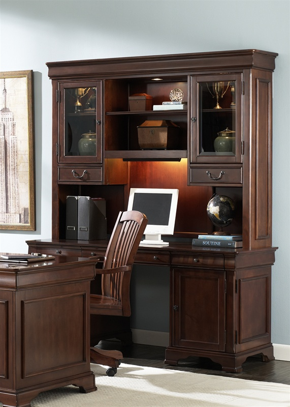 Exceptionnel Louis Jr Executive Home Office Credenza U0026 Hutch In Deep Cherry Finish By  Liberty Furniture   101 HO120