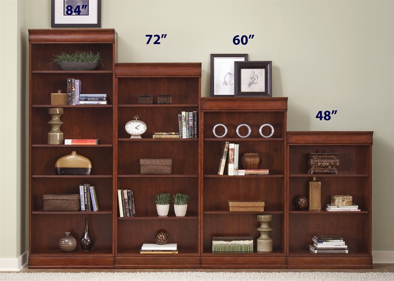 louis jr executive 84-inch bookcase in deep cherry finish
