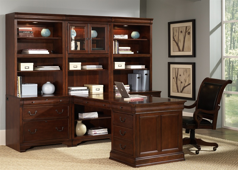 Louis Jr Executive 84-Inch Bookcase in Deep Cherry Finish by Liberty  Furniture - 101-HO3084 - Louis Jr Executive 84-Inch Bookcase In Deep Cherry Finish By