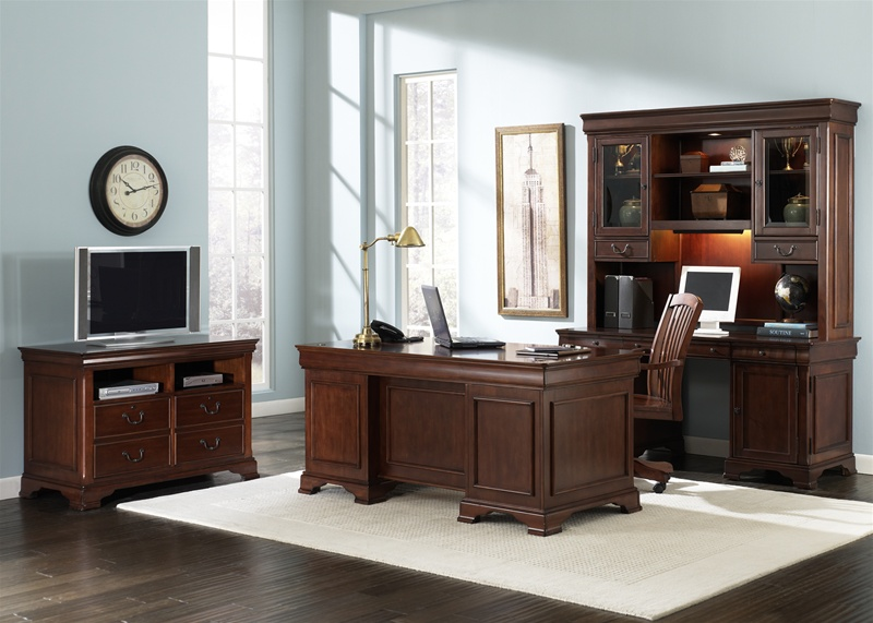 louis jr executive 5 piece home office set in deep cherry finish by liberty furniture 101 hoj
