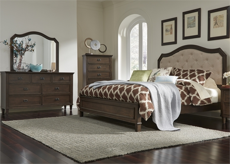 Heights Panel Upholstered Bed 6 Piece Bedroom Set in Antique ...