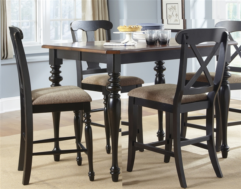 Abbey Court X Back Chairs 5 Piece Counter Height Gathering Table Set In  Black And Cherry Finish By Liberty Furniture   LIB 111 B300124