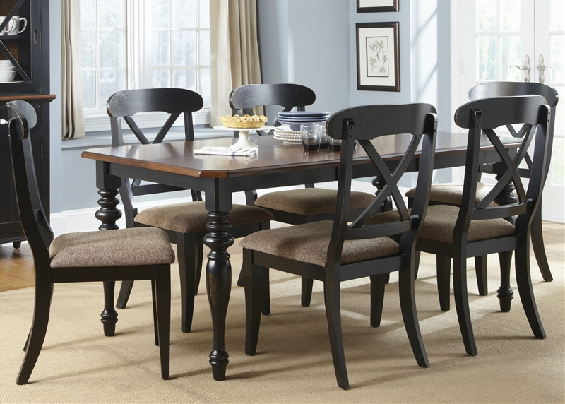 Abbey Court X Back Chairs 5 Piece Dining Set in Black and Cherry ...
