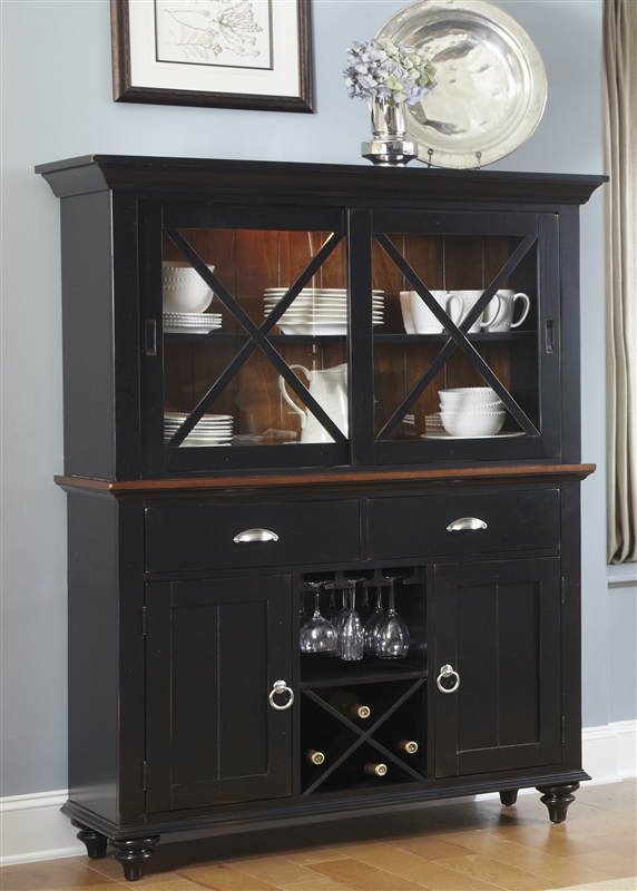 Great Abbey Court Buffet U0026 Hutch In Black And Cherry Finish By Liberty Furniture    LIB 111 CH4866