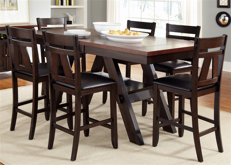 Lawson Piece Counter Height Dining Set In Espresso Two Tone Finish - Counter height table for two