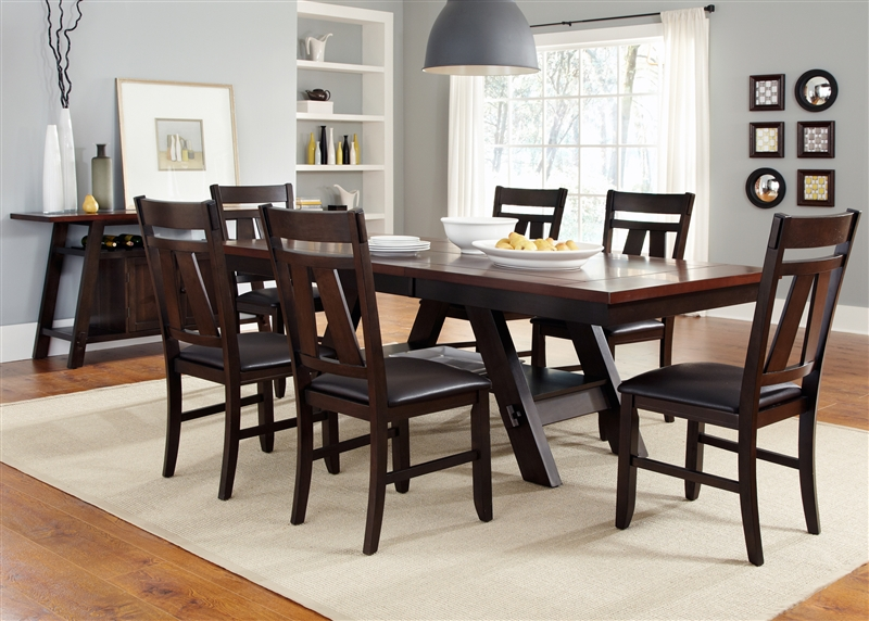 Magnificent Lawson 5 Piece Dining Set In Espresso Two Tone Finish By Liberty Furniture Lib 116 P4090 Caraccident5 Cool Chair Designs And Ideas Caraccident5Info