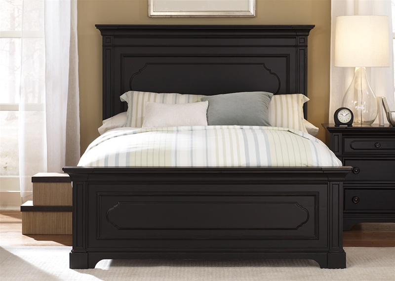 Southern Cachet Panel Bed 6 Piece Bedroom Set In Hand Rubbed Black Finish  By Liberty Furniture   117 BR