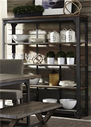 Caldwell Open Curio in Dark Pewter Metal and Rustic Caramel Finish by Liberty Furniture - 117-CH5666